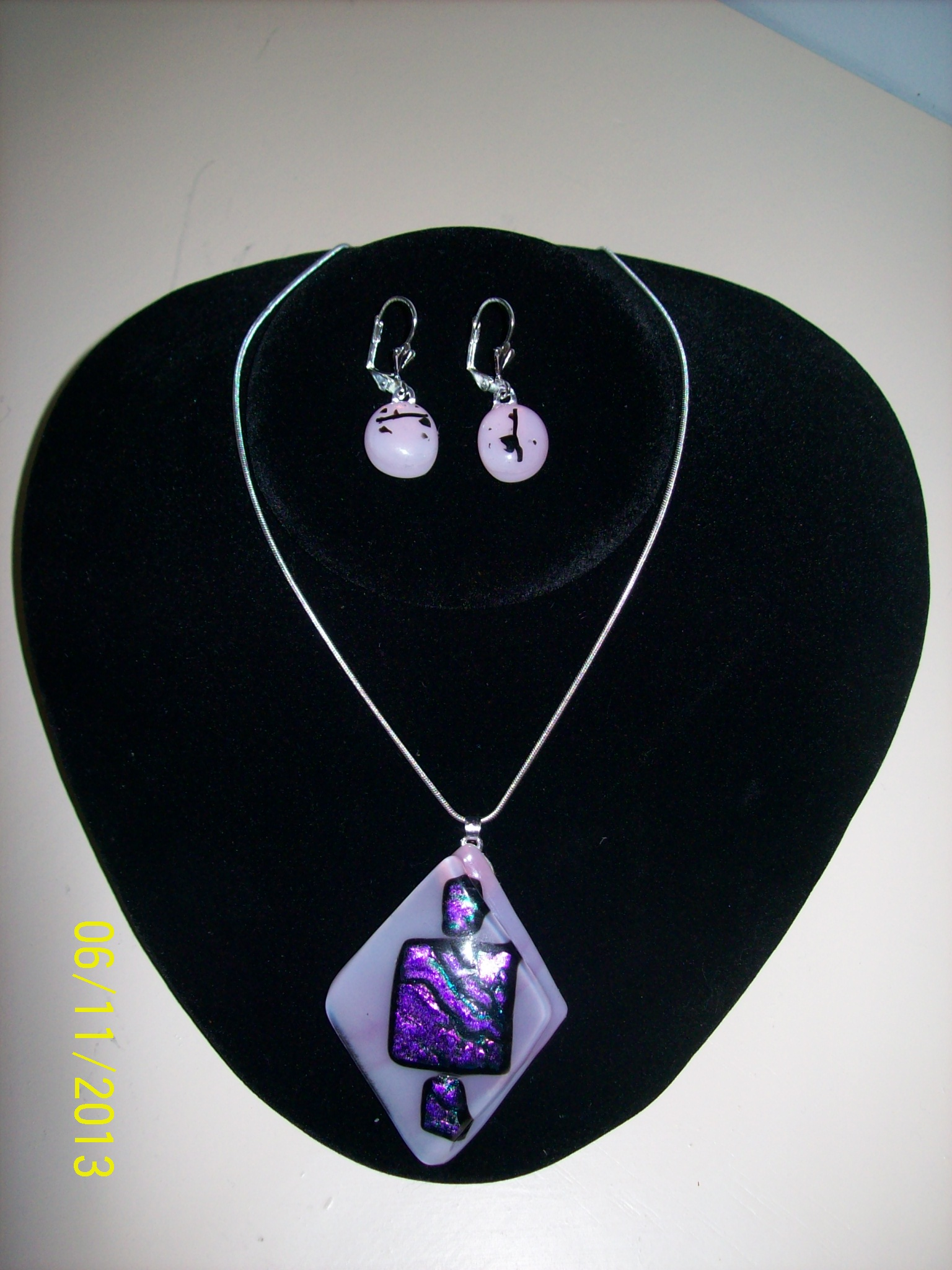 Pink Pendant with matching Earrings