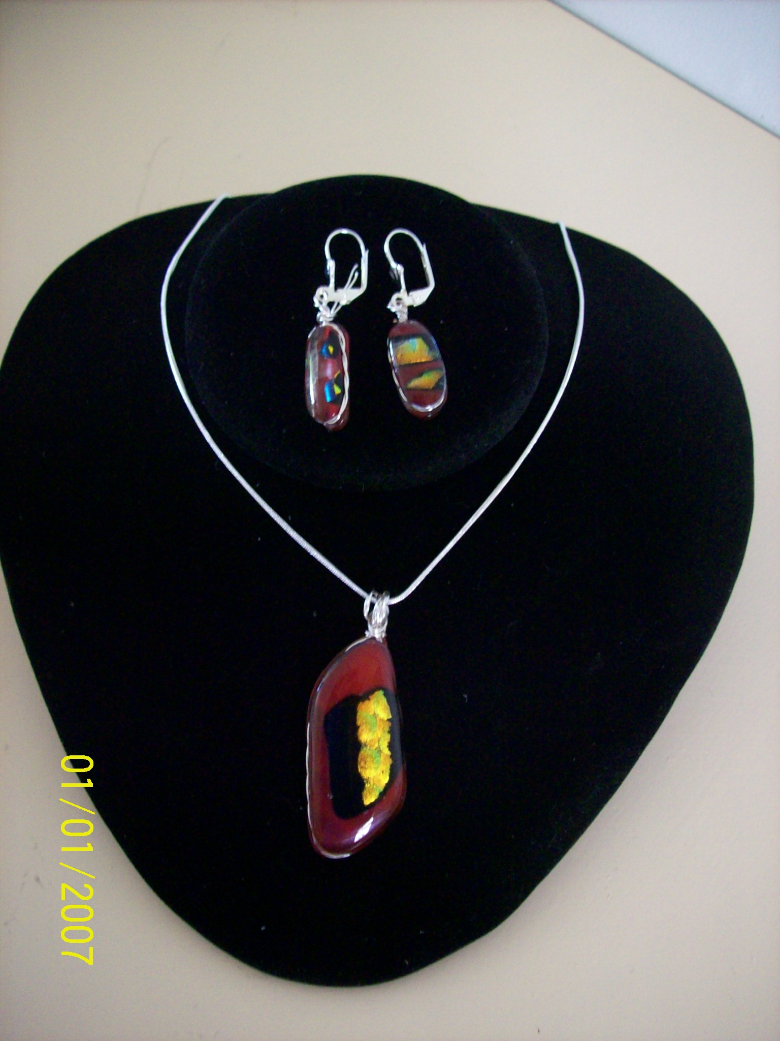Red Pendant with matching earrings